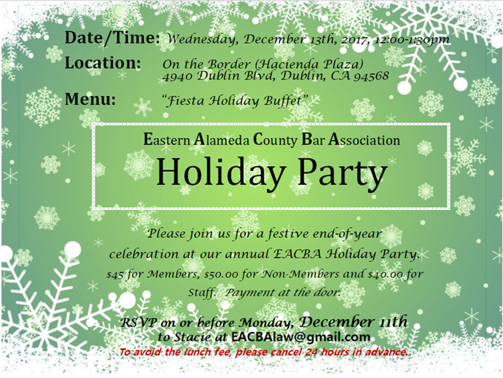 Holiday Party flyer for EACBA, Dec. 2017